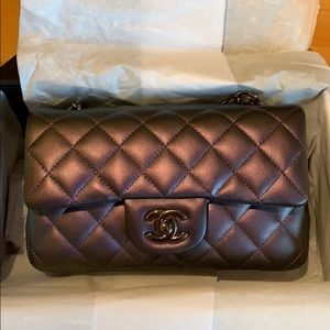 Rare Chanel Mini Rectangular Purple Metallic